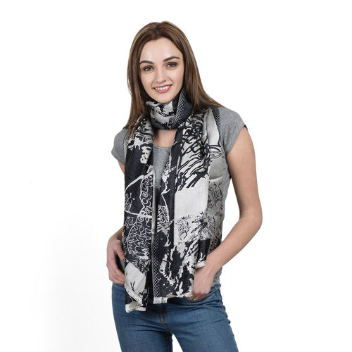 SILK MARK- 100% Superfine Silk Silver Black and Silver Colour Jacquard Jamawar Scarf with Fringes (S