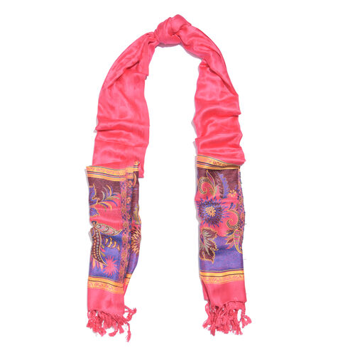 Pink, Purple and Multi Colour Floral and Leaves Pattern Scarf with Tassels (Size 190X70 Cm)