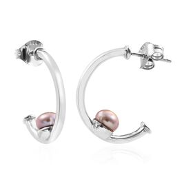 Fresh water pearl - Pink (1.50 Ct) Platinum Overlay Sterling Silver Earring  1.500  Ct.