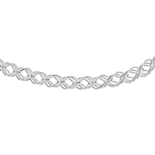 Close Out Deal- Sterling Silver Double Curb Necklace (Size 18), Silver wt 14.01 Gms.