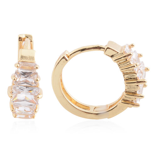 NY Close Out Deal- Simulated Diamond (Emerald Cut) Hoop Earrings (with Clasp Lock) in Yellow Gold Plated