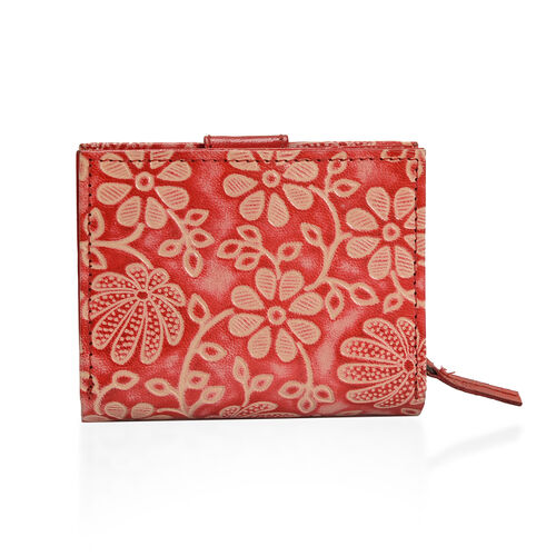100% Genuine Leather Red Colour Floral Vine Pattern Wallet With RFID Blocker (Size 12x10 Cm)