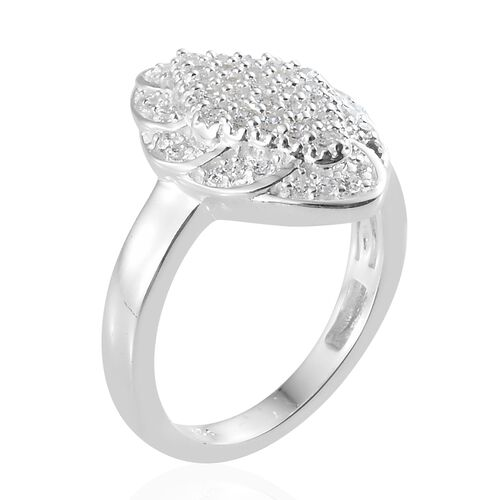 J Francis - Sterling Silver (Rnd) Cluster Ring Made with SWAROVSKI ZIRCONIA