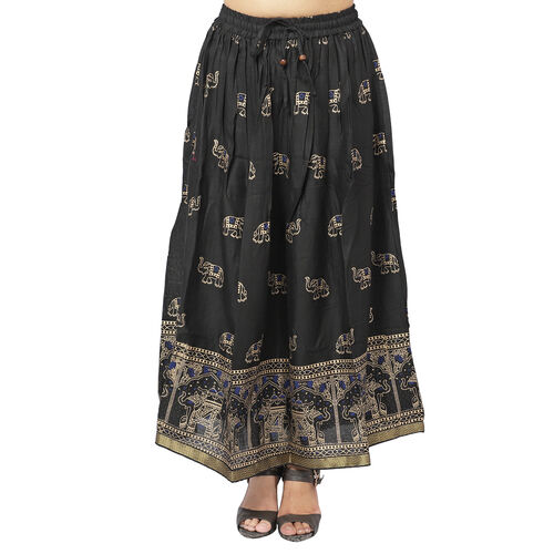 Floral Block Printed Long Skirt (One Size) - Black