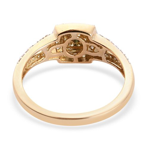 14K Yellow Gold White and Natural Yellow Diamond Ring 0.50 Ct.