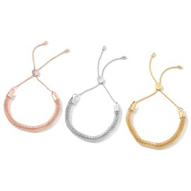 3 Piece Set -  Bolo Adjustable Bracelet (Size 6.5 - 10) in Rose Gold and Yellow Gold Plated Stainless Steel