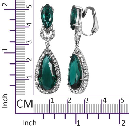 Simulated Emerald (Pear), White Austrian Crystal Drop Earrings in Stainless Steel