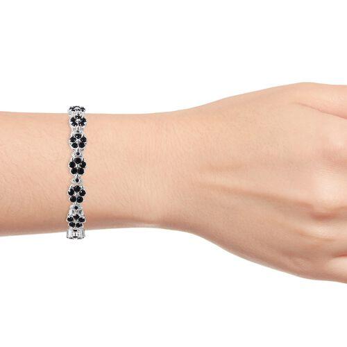 J Francis - Crystal from Swarovski Black Crystal (Rnd) Floral Bracelet (Size 8) in Silver Tone