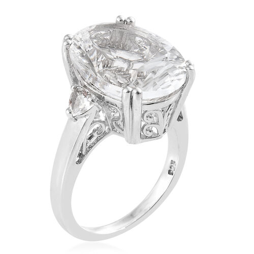 Extremely Rare Size-Petalite (Ovl 16x12 mm) Ring in Platinum Overlay Sterling Silver  7.750 Ct.