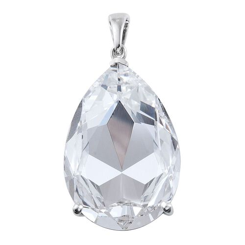 Limited Edition- One Time Deal J Francis Crystal from Swarovski - Ice Colour Crystal (Pear) Pendant in Platinum Overlay Sterling Silver. Silver Wt 12.00 Gms