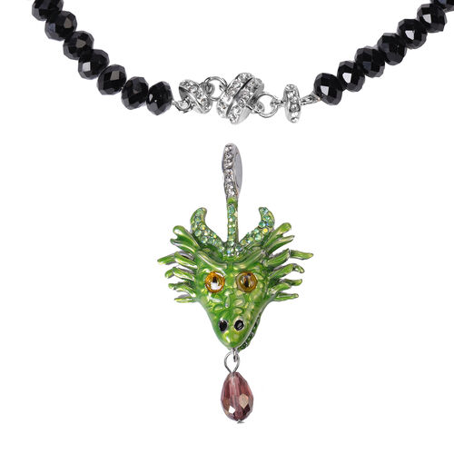Multi Colour Austrian Crystal and Simulated Black Spinel Dragon Enamelled Detachable with Magnet Pendant Necklace (Size 20)