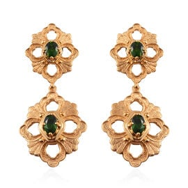 GP Russian Diopside and Blue Sapphire Dangling Earrings in 14K Gold Overlay Sterling Silver 1.75 Ct.
