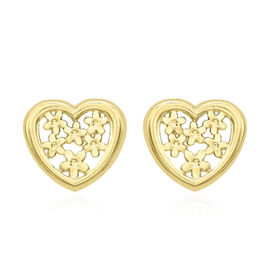 Floral Heart Stud Earrings in 9K Yellow Gold