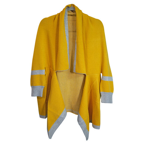 Kris Ana Coloured Border Cardigan One Size - Mustard/Grey