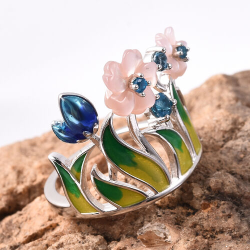 Jardin Collection - Purple Mother of Pearl, Neon Apatite and London Blue Topaz Enamelled Floral Crown Ring in Rhodium Overlay Sterling Silver