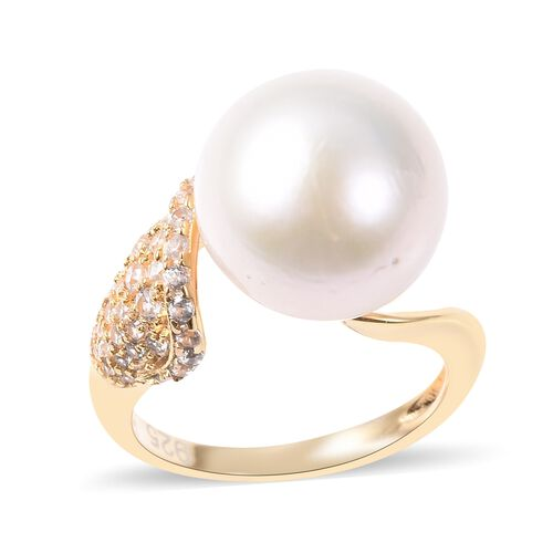 Edison Pearl and White Zircon Solitaire Ring in Gold Plated Sterling Silver