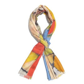 100% Modal Yellow and Multi Colour Digital Printed Scarf Size 200x70 Cm