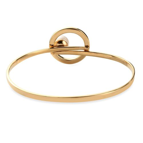 Sundays Child - Freshwater Pearl Bangle (Size 7.5) in 14K Gold Overlay Sterling Silver Silver Wt 15.41 Grams