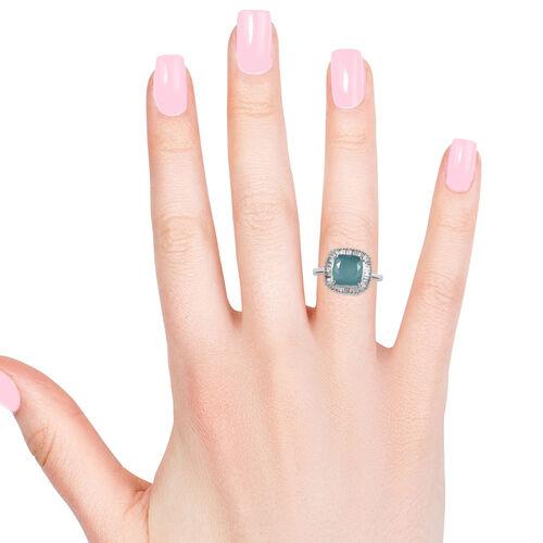 9K White Gold Extremely Rare Grandidierite (Cush 8x8 mm) and Diamond Ring 3.000 Ct.