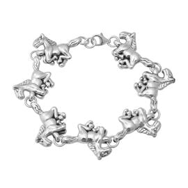 Classic Horse Bracelet in Platinum Plated Silver 15.63 Grams 7.5 Inch