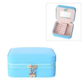 Two Section Jewellery Organiser with Inside Mirror and Zipper Closure (Size 11.5x9.5x5 Cm) - Blue
