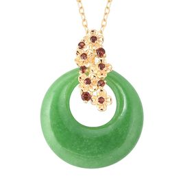 16.49 Ct Green Jade and Mozambique Garnet Circle Pendant With Chain in Gold Plated Silver