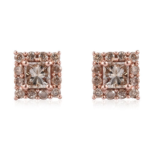 9K Rose Gold SGL Certified Natural Champagne Diamond (I3) (Princess Cut) Earrings (with Push Back) 0