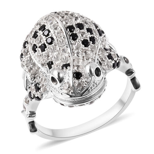 GP - Boi Ploi Black Spinel, Mozambique Garnet, Simulated Diamond and Blue Sapphire Ring in Rhodium O