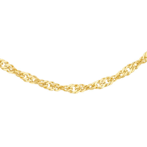 Italian Made 9K Yellow Gold Twisted Curb Chain (Size 18)