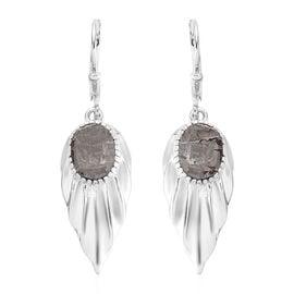 Meteorite (Ovl) Dangle Earrings in Platinum Overlay Sterling Silver 9.00 Ct.