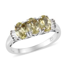 1.54 Ct Madagascar Golden Apatite and Diamond Trilogy Ring in Platinum Plated Sterling Silver
