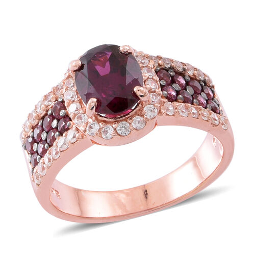 Rhodolite Garnet (Ovl 2.25 Ct), Natural White Cambodian Zircon Ring in Black Rhodium and Rose Gold O