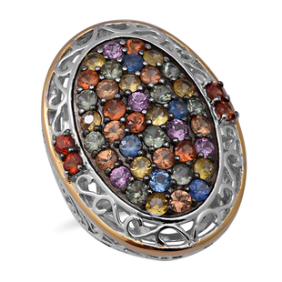 Rainbow Sapphire Ring in Two-Tone Overlay Sterling Silver 6.08 Ct.