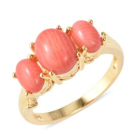 Bamboo Coral (Ovl) Three Stone Ring in Yellow Gold Overlay Sterling Silver