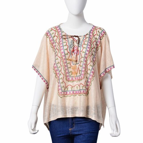Multi Colour Geometric Pattern Off White Colour Poncho with Tassels on Neck (Size 85X60 Cm)