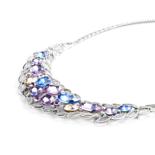 Purple Austrian Crystal, Simulated Multi Colour Gemstone and Simulated Mystic White Crystal Necklace (Size 23.5 with Extender) in Silver Tone