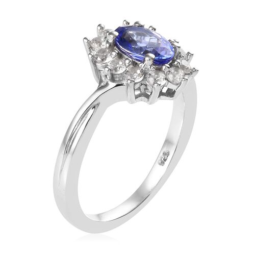 AA Tanzanite (Ovl), Natural Cambodian Zircon Ring in Platinum Overlay Sterling Silver 1.250 Ct