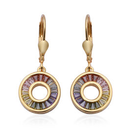 ELANZA Simultaed Rainbow Sapphire Drop Lever Back Earrings in Yellow Gold Overlay Sterling Silver 2.