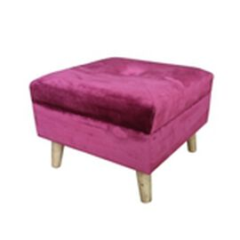Wine Red Colour Footstools with Storage Box (Size 38x38x26 Cm)
