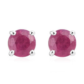 9K White Gold AA  African Ruby (Rnd) Stud Earrings (With Push Back) 0.750 Ct.