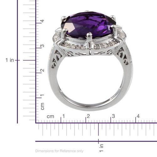 Lusaka Amethyst (Rnd 7.50 Ct), Diamond Ring in Platinum Overlay Sterling Silver 7.700 Ct.