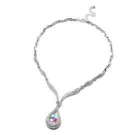 Simulated Mercury Mystic Topaz and Simulated Mystic White Crystal Necklace (Size 21 with Extender) i