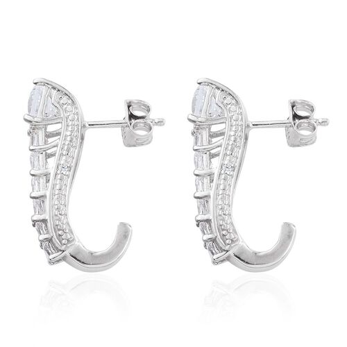 J Francis - Platinum Overlay Sterling Silver Princess Cut (Sqr) J Hoop Earrings (with Push Back) Made with SWAROVSKI ZIRCONIA