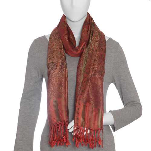 SILK MARK - 100% Superfine Silk Red Colour Jacquard Jamawar Scarf with Fringes (Size 180x70 Cm) (Weight 125-140 Grams)