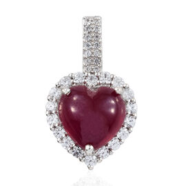 Extremely Rare Size African Ruby (Hrt 11.30 Ct), Natural Cambodian Zircon Pendant in Platinum Overlay Sterling Silver 12.750 Ct.