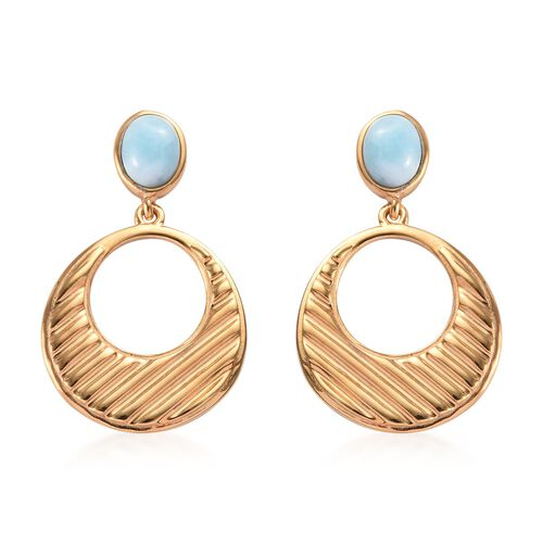 2 Carat Larimar Dangle Solitaire Earrings in Gold Plated Sterling Silver