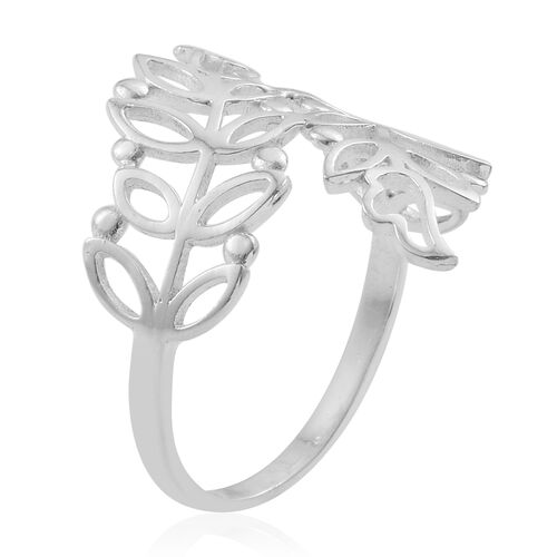 Sterling Silver Crossover Leaf Ring