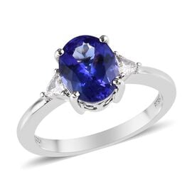 RHAPSODY 950 Platinum AAAA Tanzanite and Diamond Ring  2.15 Ct, Platinum wt. 4.50 Gms