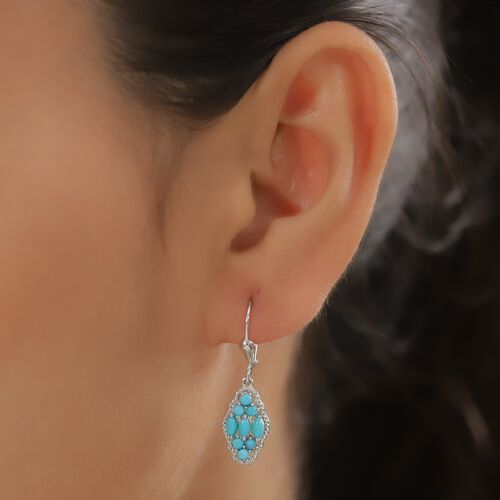 Arizona Sleeping Beauty Turquoise Dangling Lever Back Earrings in Platinum Overlay Sterling Silver 1.25 Ct.