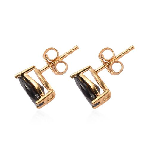 Elite Shungite (Pear 8x6mm) Stud Earrings (with Push Back) in Yellow Gold Overlay Sterling Silver 1.15 Ct.